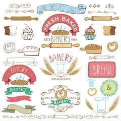 Vintage Bakery Labels elements.Hand sketched