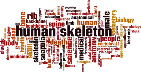 Human skeleton word cloud concept. Vector illustration