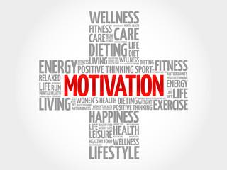 MOTIVATION word cloud, health cross concept