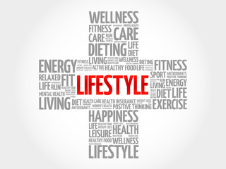LIFESTYLE word cloud, health cross concept