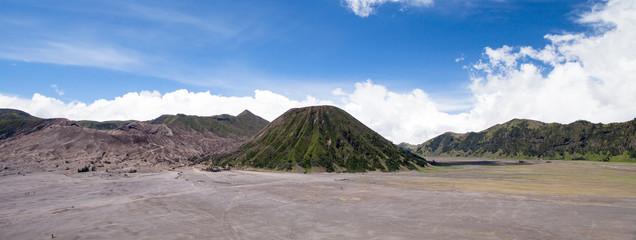 Panorama Batok and Bromo Volcano