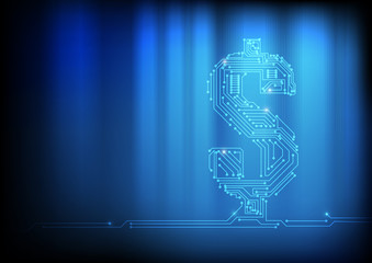 Vector : Electronic circuit in dollar symbol on technology backg