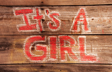 Its a Girl Birth Announcement Painted on a Wooden Wall
