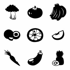 Vector Fruit and Vegetables icon set