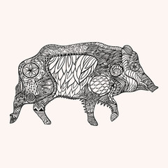 Ornated zentangle style wild boar vector illustration