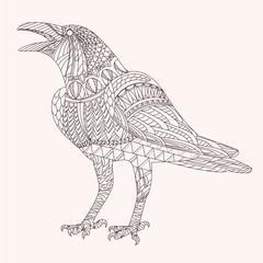 Patterned raven zentangle style. Good for T-shirt, bag or whatever print. EPS 10 vector illustration