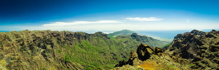 Panorama view from Roque de los Muchachos at La Palma, Canary Islands