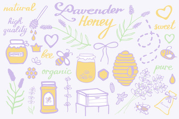 Lavender honey set. Hand-drawn cartoon collection - flowers, jars, calligraphy, floral elements. Doodle drawing.