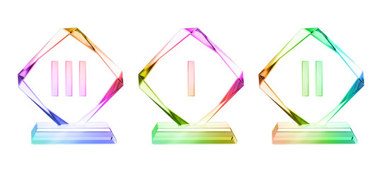 Crystal plaque awards set