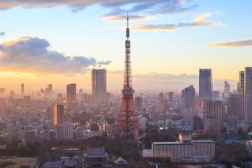 sunset Tokyo Tower in Tokyo, Japan.