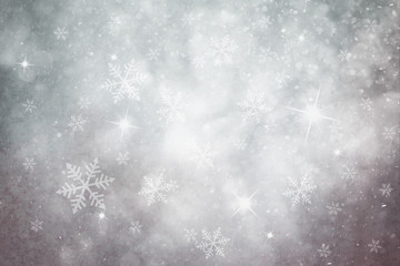 Grunge pastel silver color snowflake and sparkle illustration background. Dreamy winter snowfall copy space background.