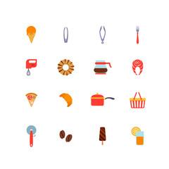Kitchenware food vector flat icons: pan, coffee, cutlery, juice