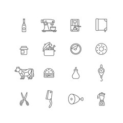 Kitchen, cooking food lineart vector icon: cow weights ham mixer