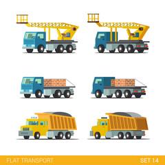 Tip truck tipper hopper lorry crane: vector building transport