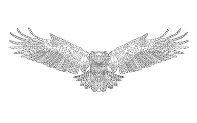 Zentangle stylized eagle. Sketch for coloring page, tattoo or t