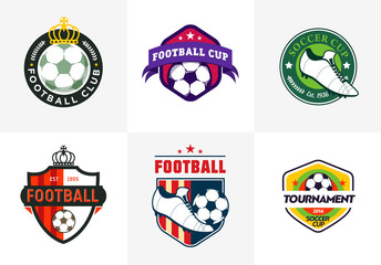 Set of vintage color football soccer championship logos and badges isolated on white Background