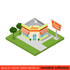 Flat isometric vector diner restaurant cafe fast food building