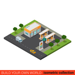 Pefill station fuel market flat 3d isometric vector building