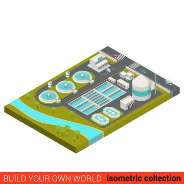 Wastewater treatment plant flat 3d isometric vector building