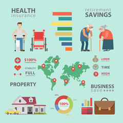Health insurance retirement oldies property vector infographic