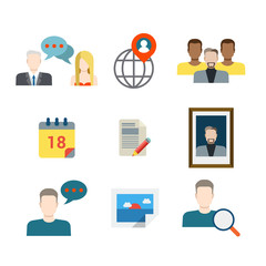 People profile avatar icons: business chat social media network