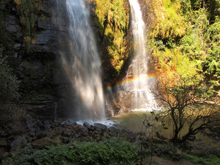 Thailand waterfall in Sukhothai (Tad Dao) with rainbows
