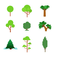 Flora plant green trees vector flat icon: pine fir palm spruce
