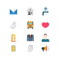Flat vector email message school heat mobile website app icons