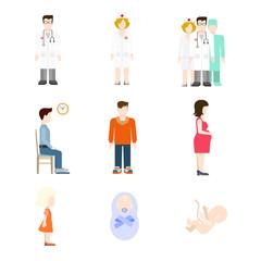 Vector medicine people icon: pregnancy baby nursing medical team