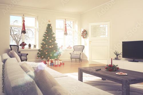 weihnachtlich dekoriertes Wohnzimmer im retro look\