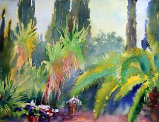 Mediterranean trees painted by watercolor.