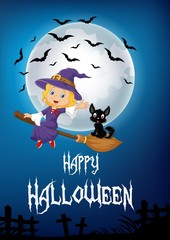 Little witch and a black cat flying on broomstick with full moon background