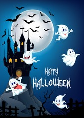 Halloween background with happy ghost flying over castle