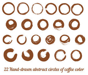 Vector set from 22 hand-drawn abstract brown ink circles