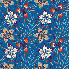 Seamless pattern with geometric flowers on a blue background. Seamless pattern can be used for wallpapers, pattern fills, web page backgrounds,surface textures
