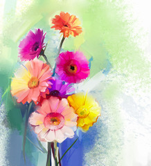 Abstract oil painting of spring flower. Still life of yellow, pink and red gerbera. Colorful Bouquet flowers with light green-blue color background. Hand Painted floral modern Impressionist style