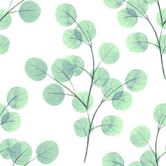 Branches with round leaves. Watercolor background. Seamless pattern 4
