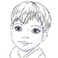 portrait of a happy baby, sketch on a white background, vector illustration