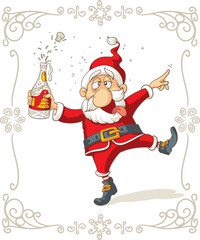 Drunk Santa Dancing Vector Cartoon