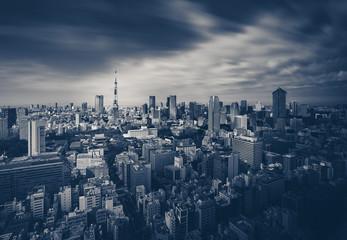 Photo sur Aluminium Tokyo Tokyo city view and Tokyo Tower in dark tone