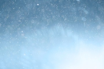 blue light background abstract bokeh light snow