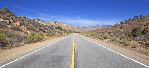 Panoramic country highway in USA, travel adventure concept.