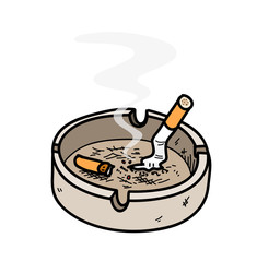 Ashtray, a hand drawn vector illustration of an ashtray with cigarettes inside, the smoke from the cigar are editable/removable.