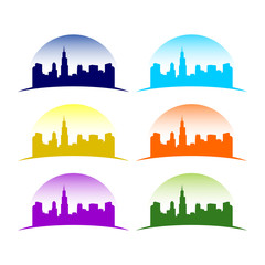 Multi Colored City Skyline
