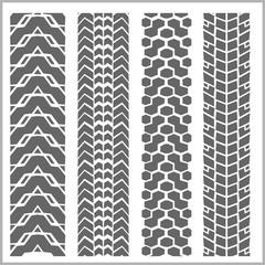 Car tire tracks - vector set
