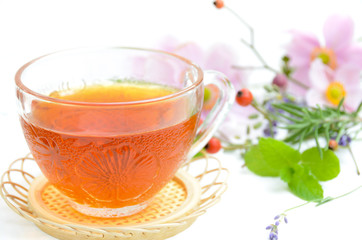tea with herbs in white background