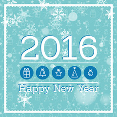blue new year card 2016 with icons