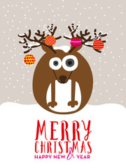 Christmas greeting card with reindeer and christmas balls. Vector design.