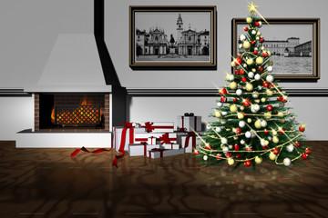 Albero Natale a casa 004 Regali di Natale sotto l'albero in salotto con camino. Rappresentazione del Natale in famiglia.