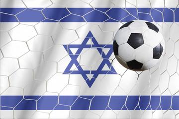 Israel flag and soccer ball, football in goal net